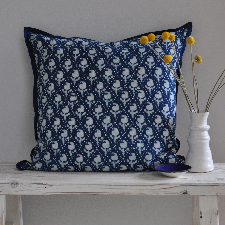 Indigo Dyed 50 x 50 Cushion - Diamond Stitch