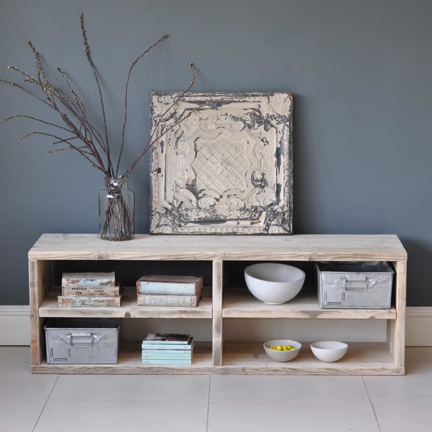 Reclaimed Timber Media Console Tableebarn-reclaimed-wood-TV-console-table