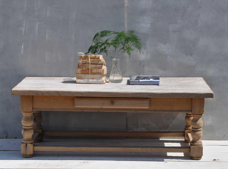 Solid Oak Weathered Vintage Coffee Table