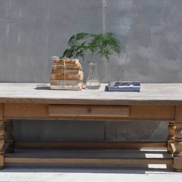 Solid Oak Weathered Vintage Coffee Table
