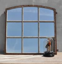 Industrial Cast Iron Factory Window Mirror - Home Barn Vintage