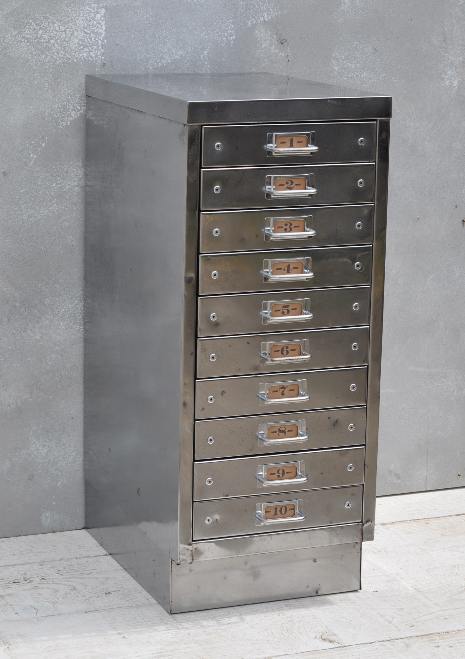 Vintage Industrial Steel Filing Cabinet 10 Drawer