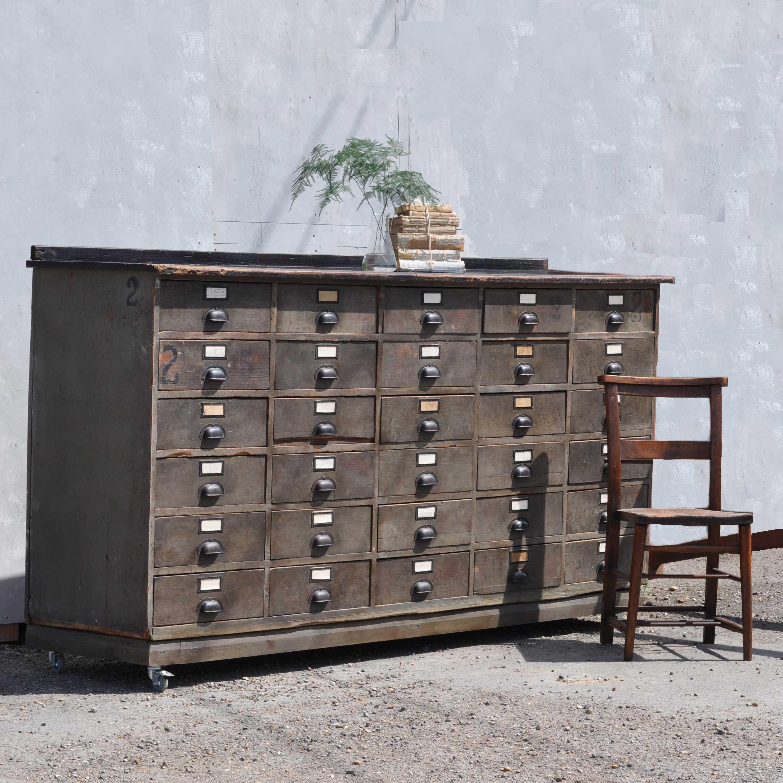 Vintage hardward shop counter with multiple drawer