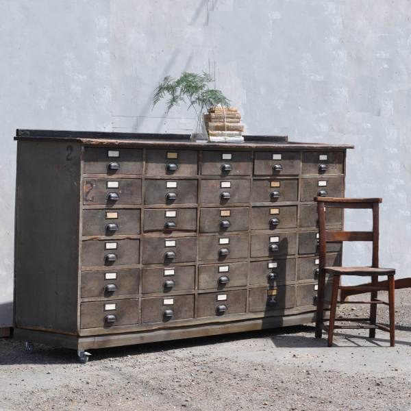 Vintage hardward shop counter with multiple drawer