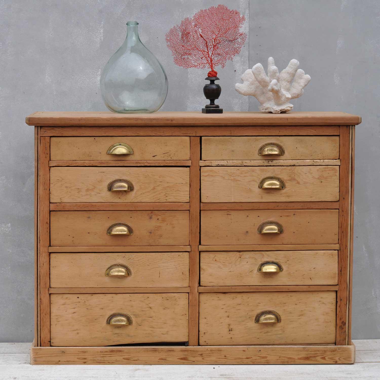 Pine Victorian Haberdashery Cupboard With Ten Drawers