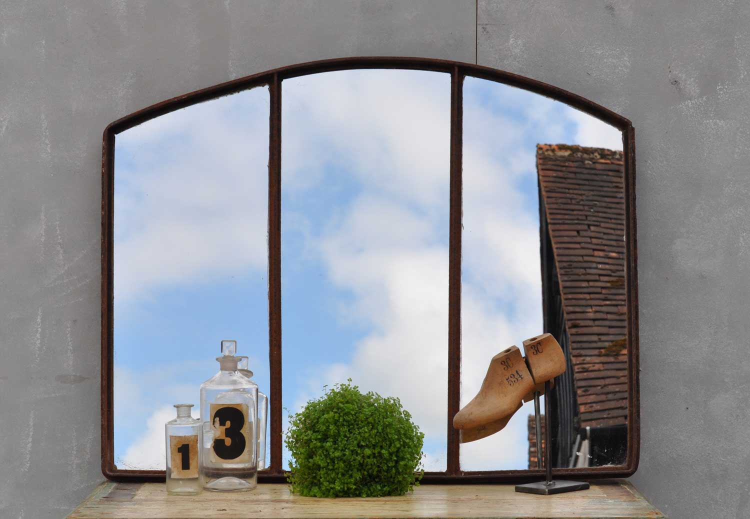 Industrial Cast Iron Warehouse Window Mirror