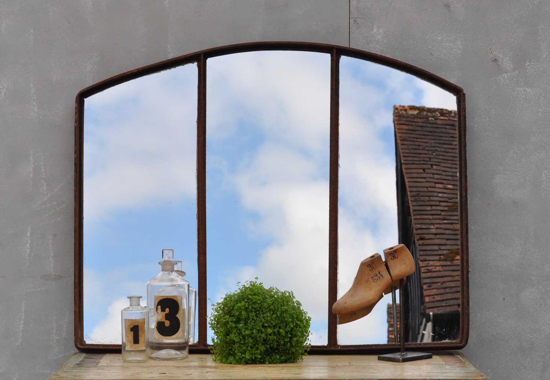 Industrial Cast Iron Warehouse Window Mirror
