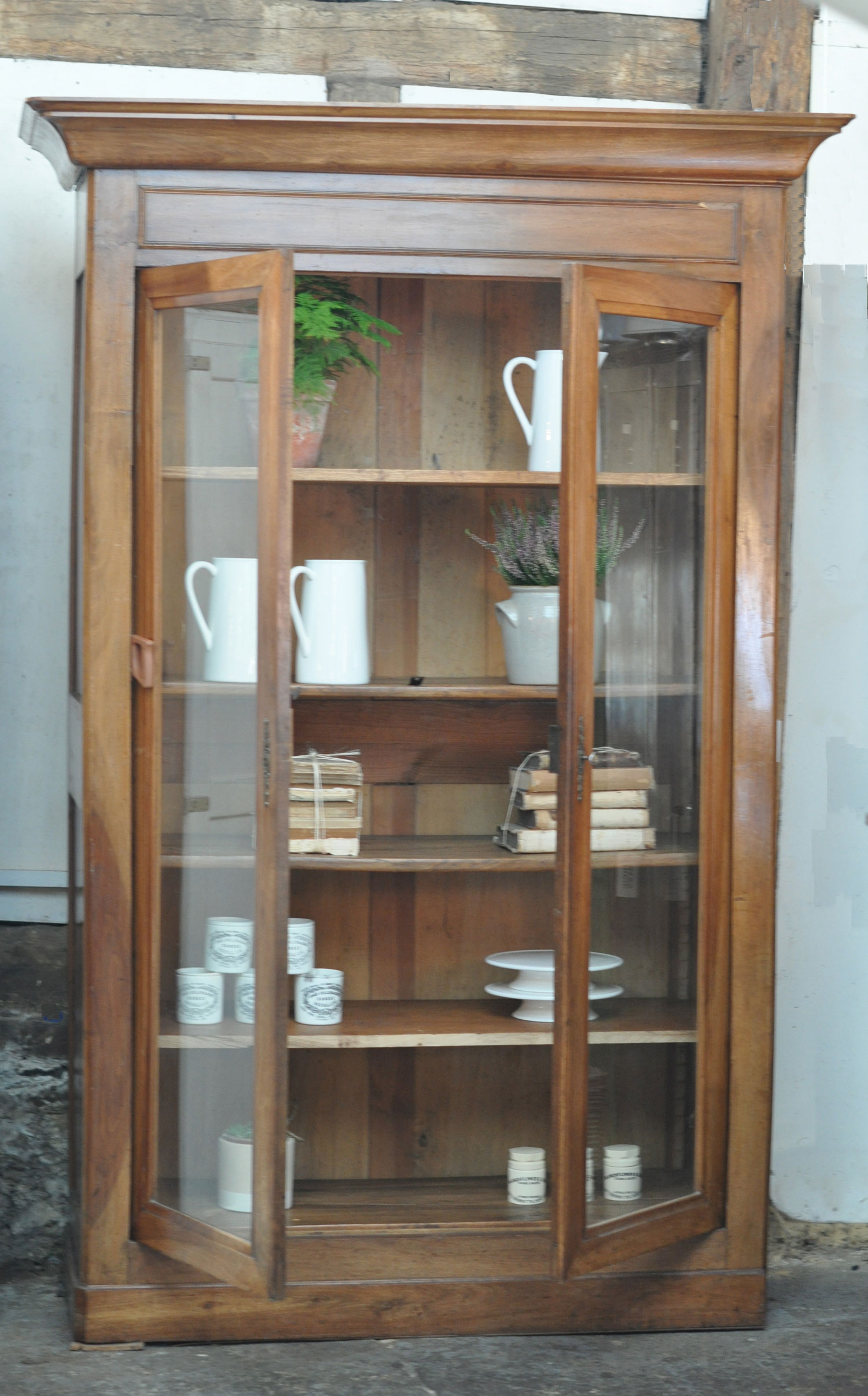Antique Elm French Glazed Large Armoire Display Cabinet