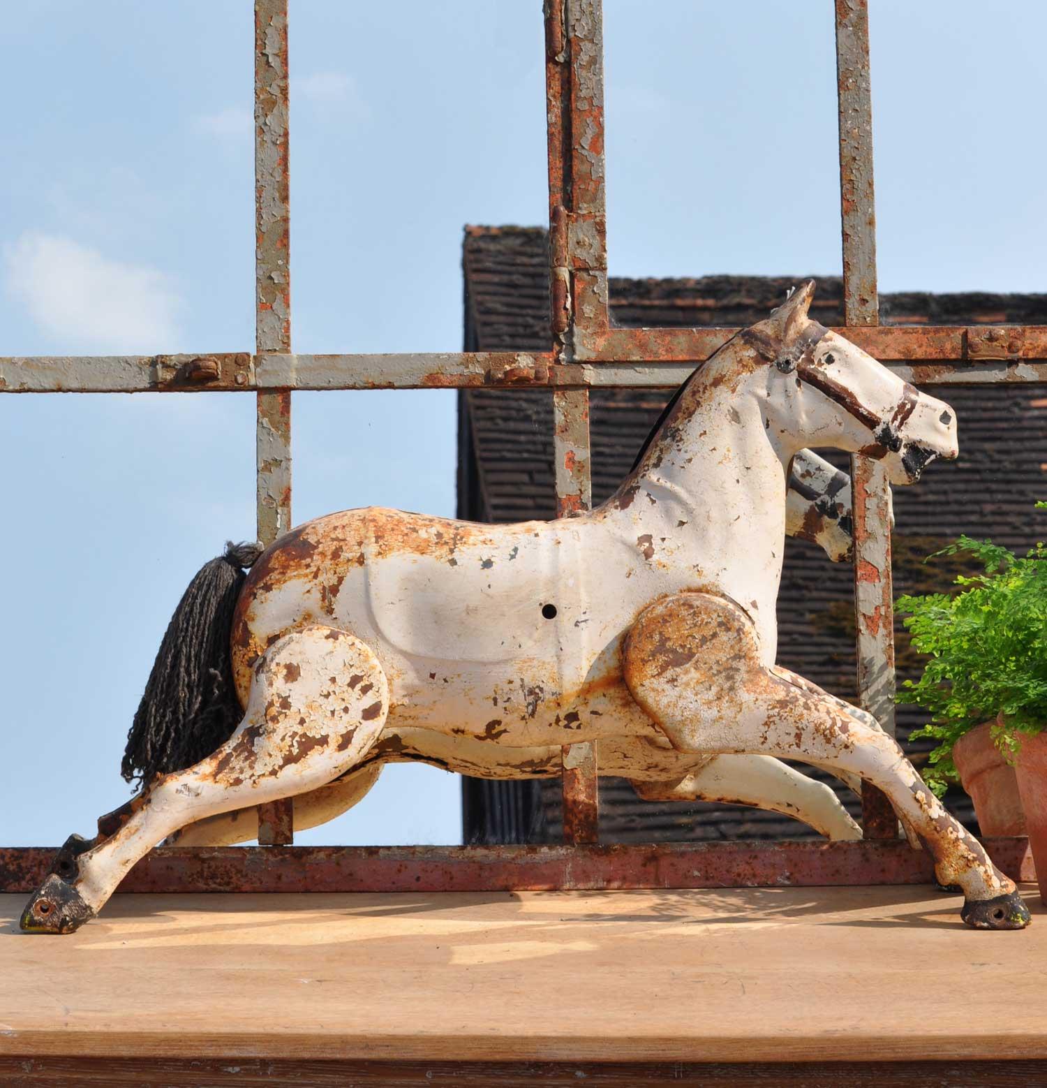 Antique Folk Art Style Rustic Tin Equestrian Horse 1