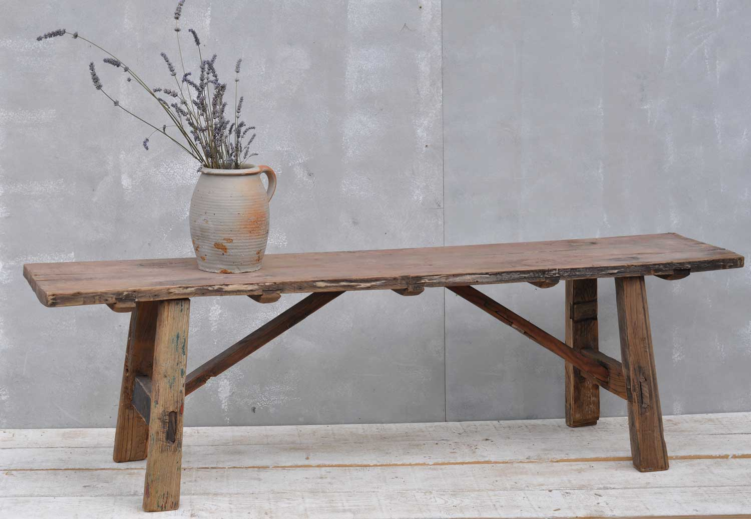 Vintage Low Solid Elm Bench Coffee Table