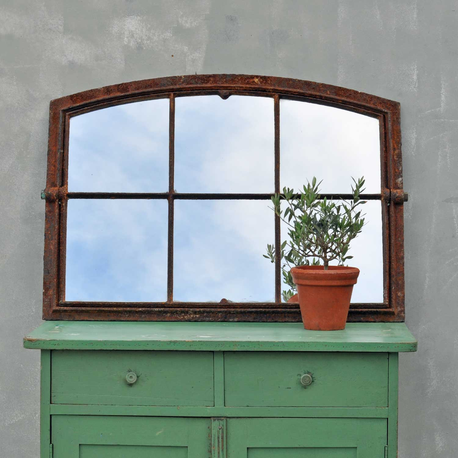 Cast Iron Arch Topped Window Mirror Small