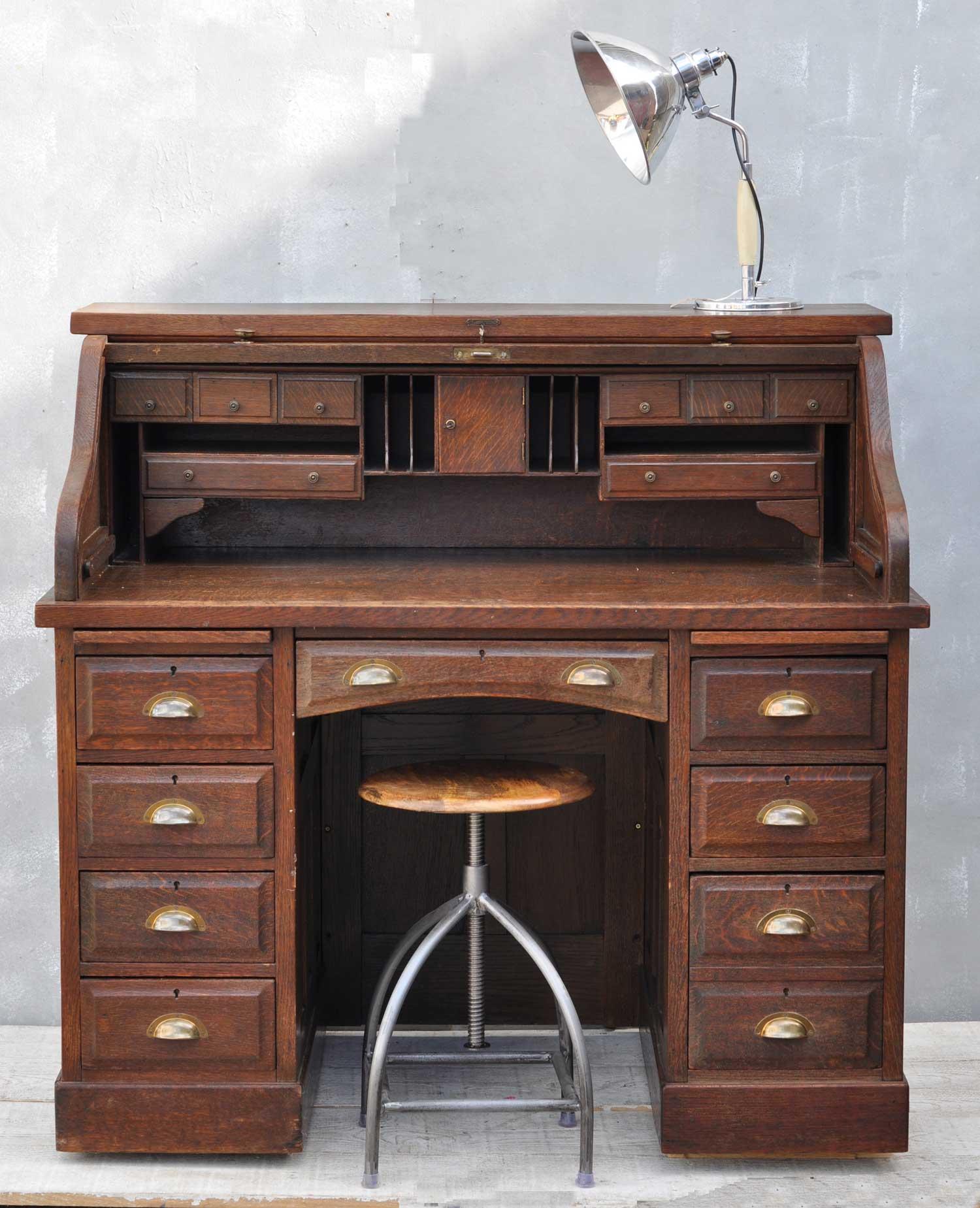 Solid Oak Roll Top Desk Antique 1930's