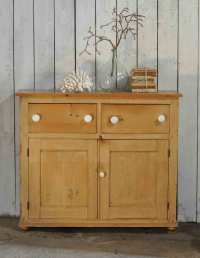 Antique Pine School Cabinet Two Drawers over Two Cupboard ...