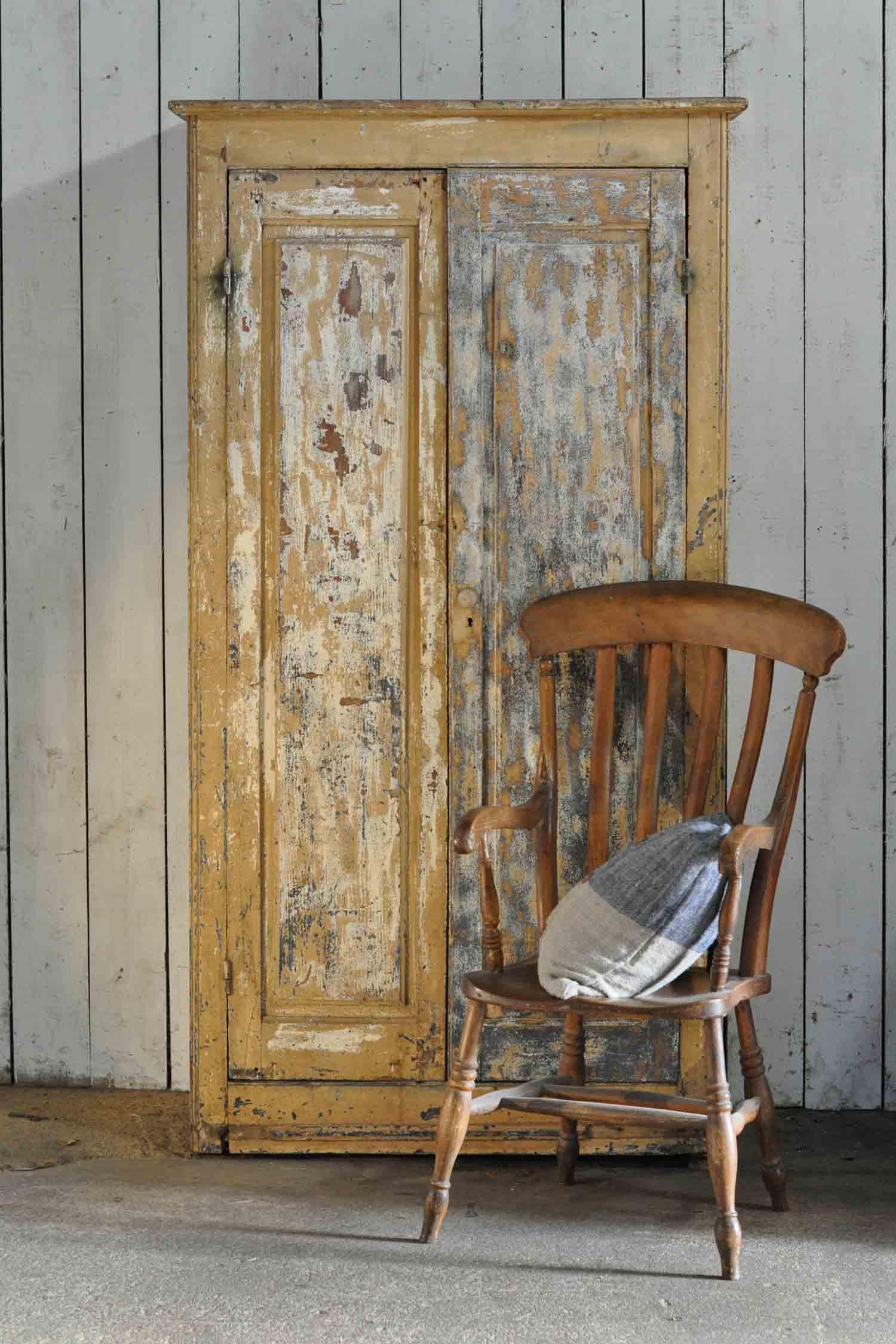Antique Rustic Two Door Original Paintwork Cupboard