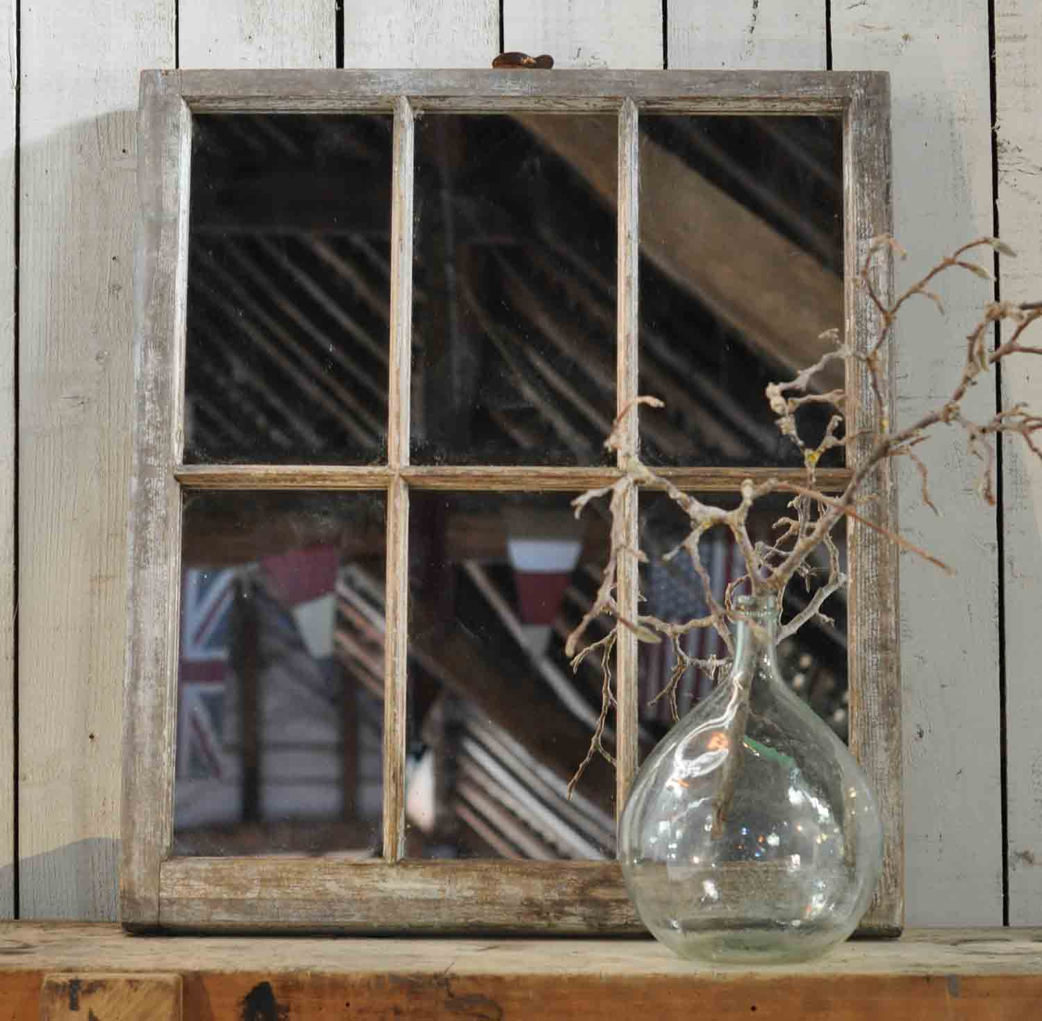 reclaimed vintage industrial timber window mirror whitewashed