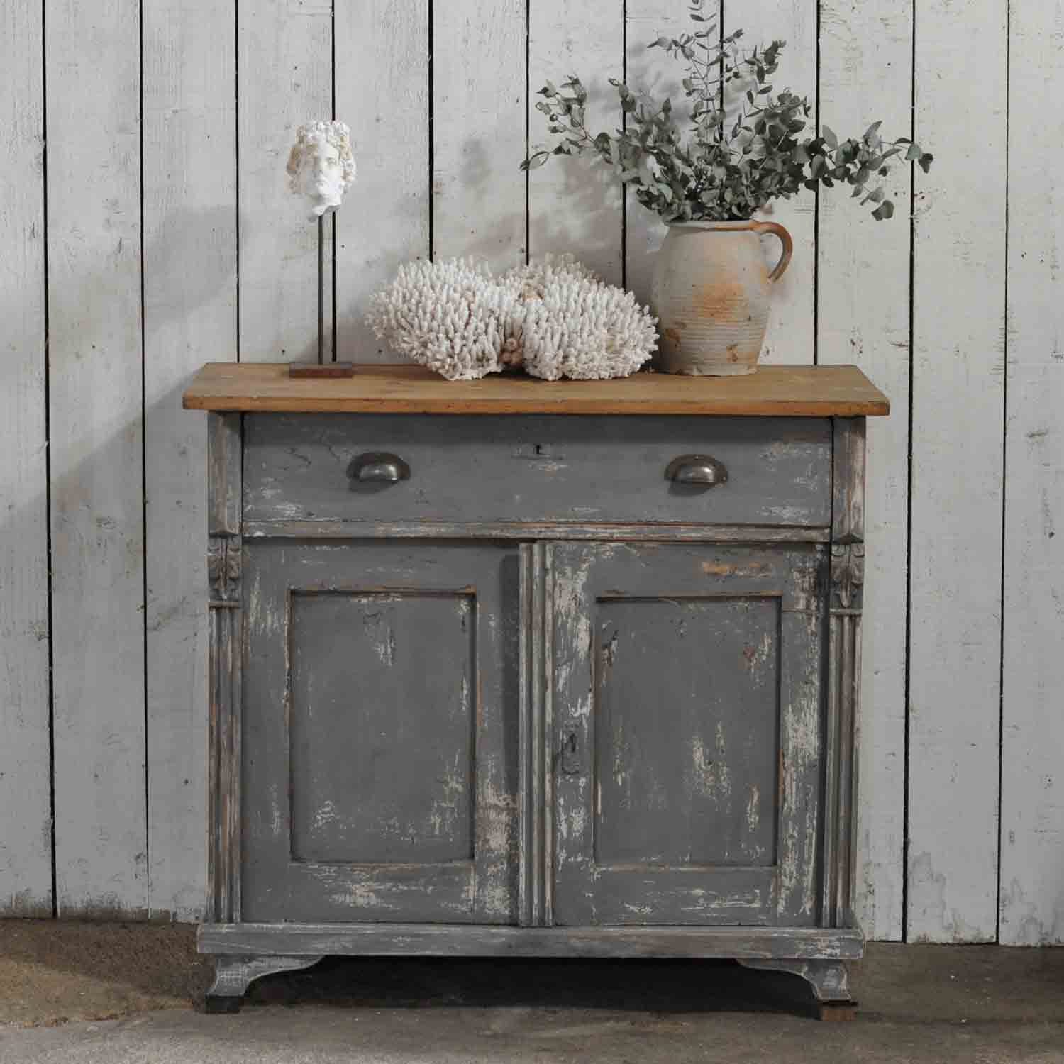 Vintage Dark Grey Hand Painted European Cabinet