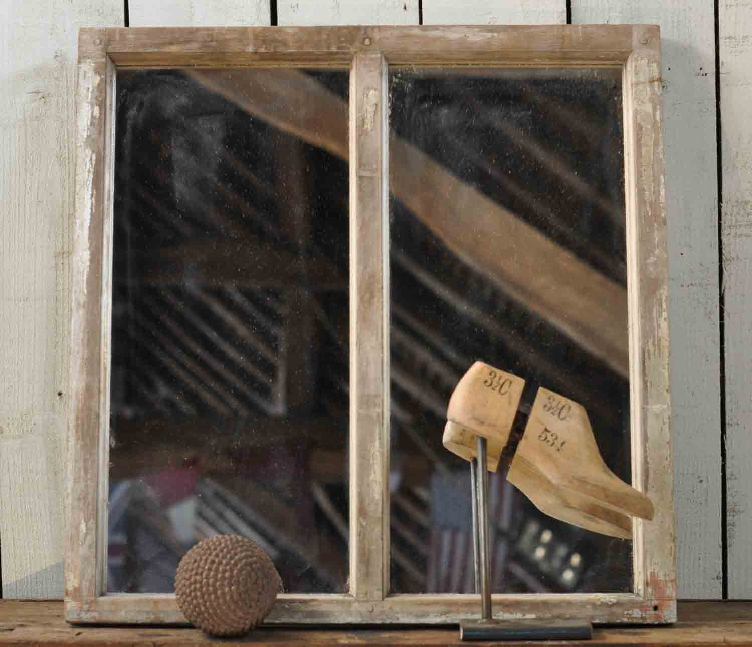Vintage Industrial Timber Warehouse Mirror Two Panes