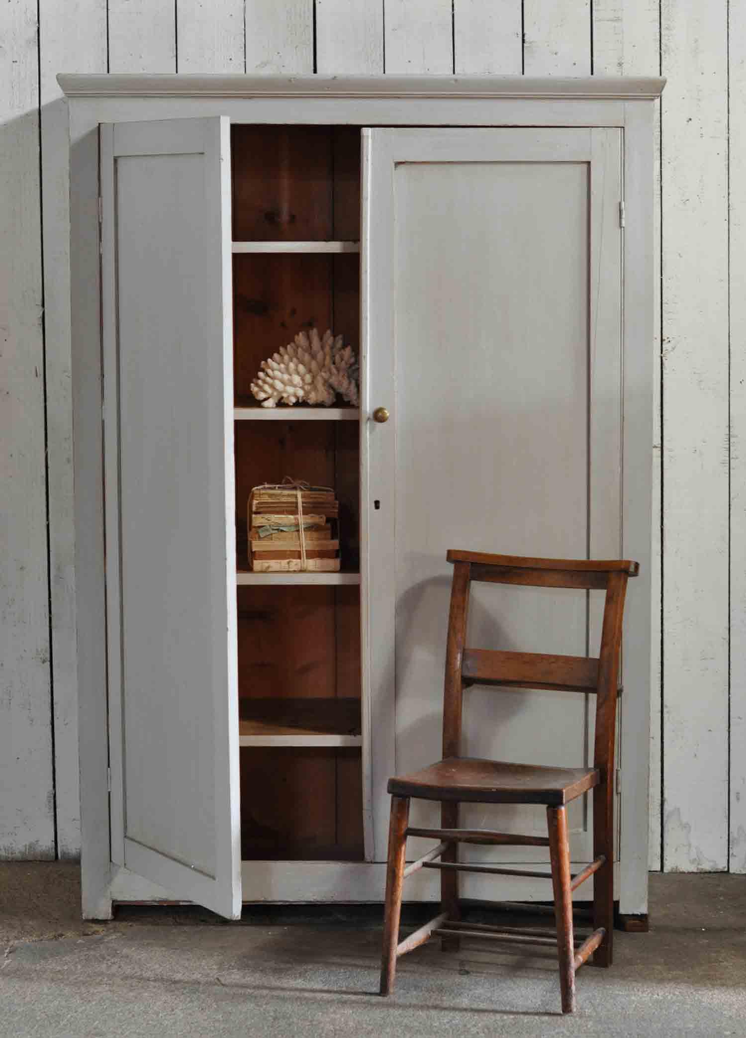 Vintage Painted Two Door School Cupboard Shelves