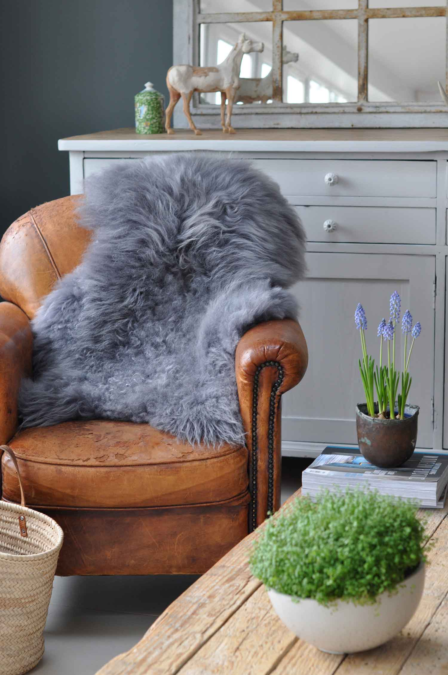Large Long Coat Gray Icelandic Sheepskin Throw
