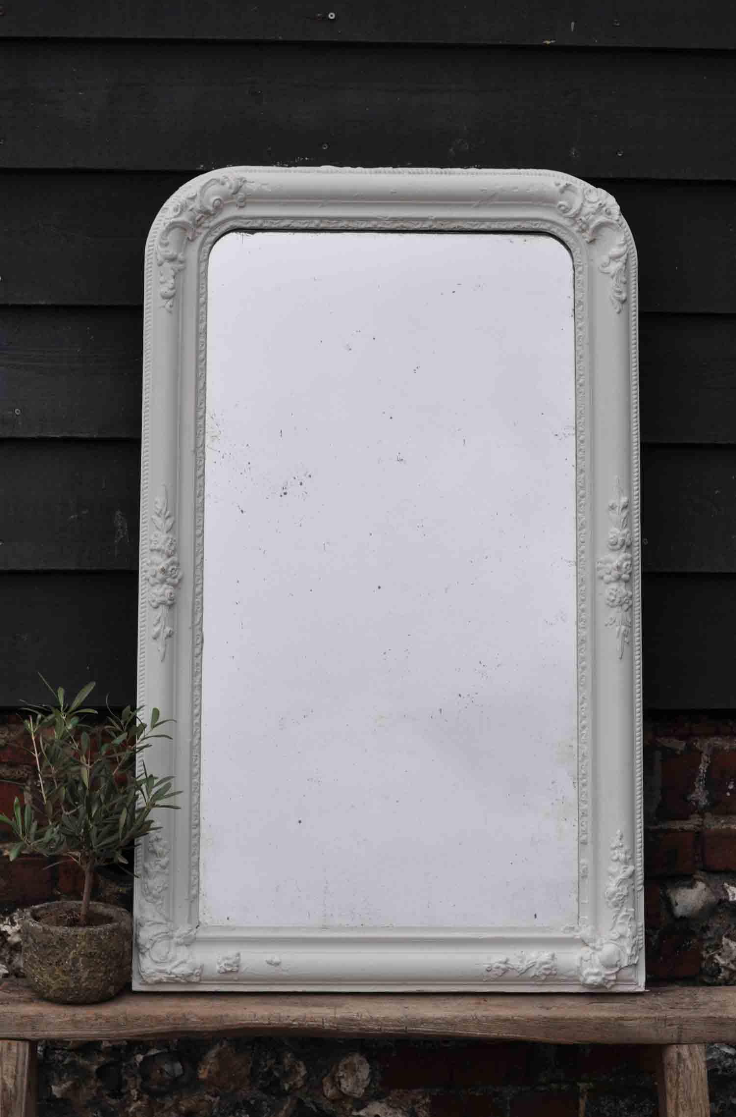 Late 1800's Antique French Ornate Corners Mirror in White