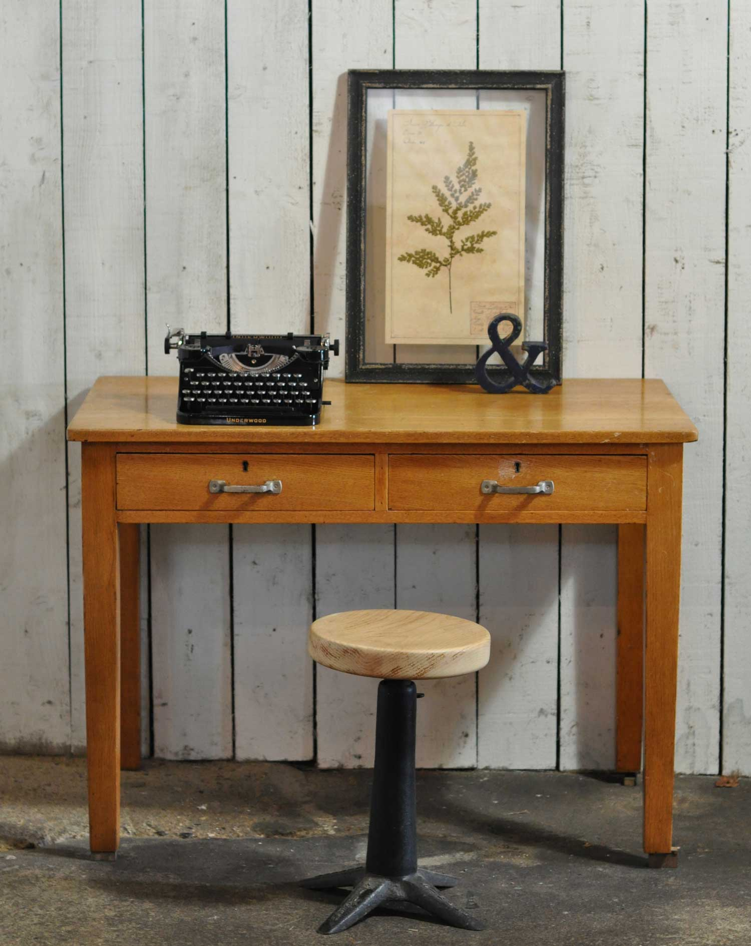 Vintage Solid Oak 1930s Clerks Office Desk