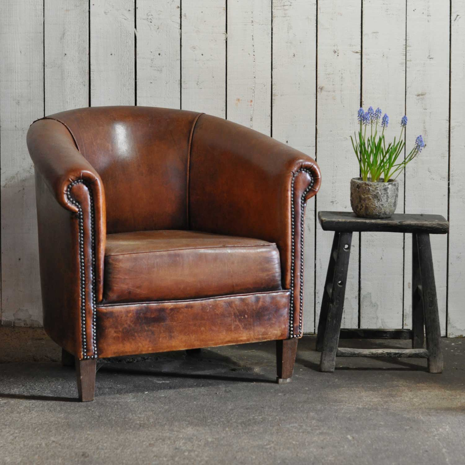Vintage Worn French Leather Club Chair With Arms