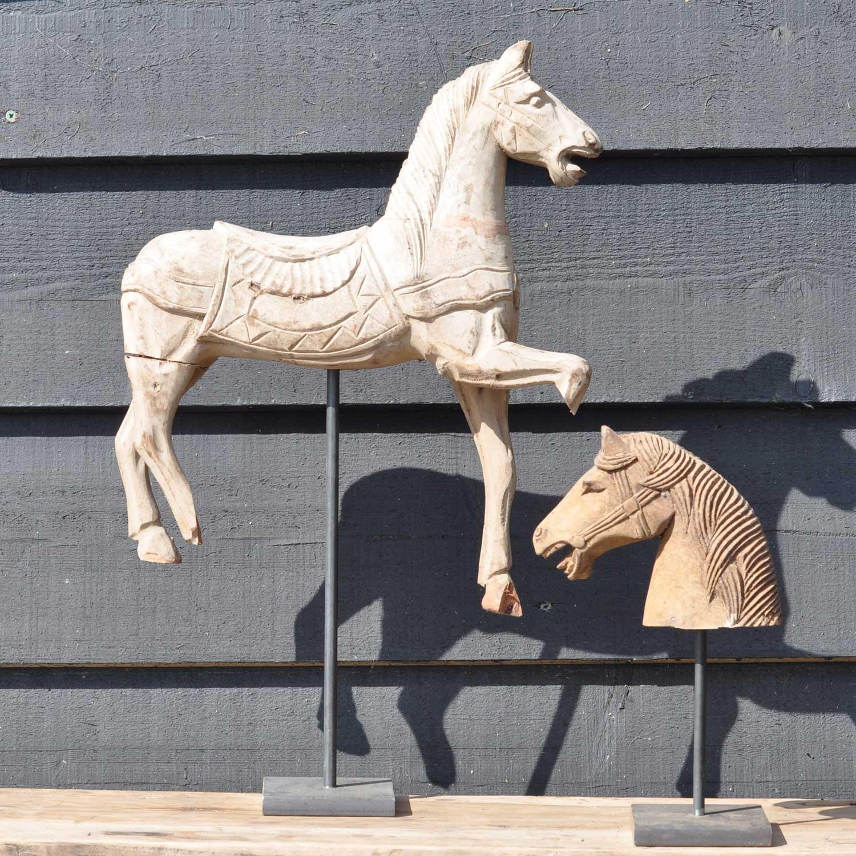 Antique Hand Carved Casting Mould Equestrian Saddled Horse