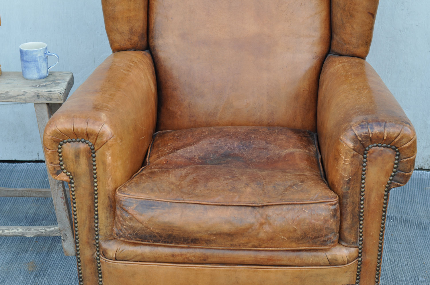 Antique French Leather Wing Back Club Arm Chair  Home