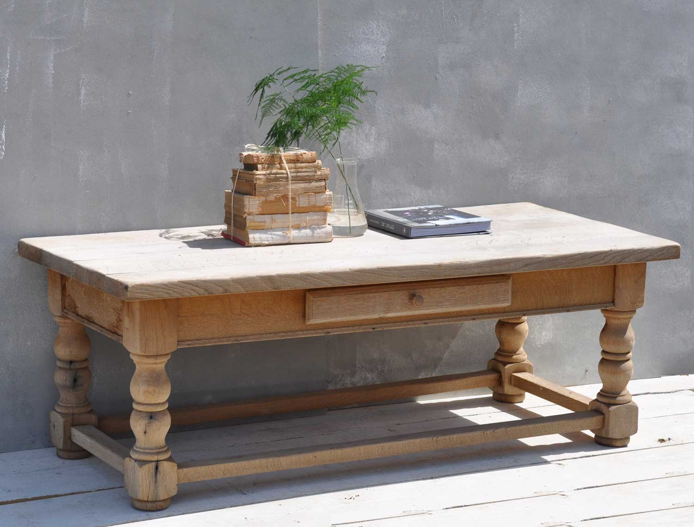 Solid Oak Weathered Vintage Coffee Table Home Barn Vintage