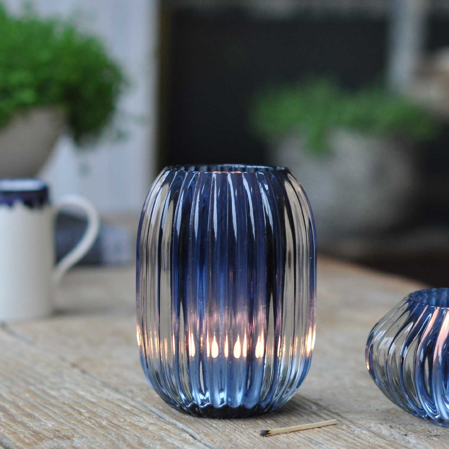 Glass Ribbed Candle Candle Holder Large Blue  Home Barn