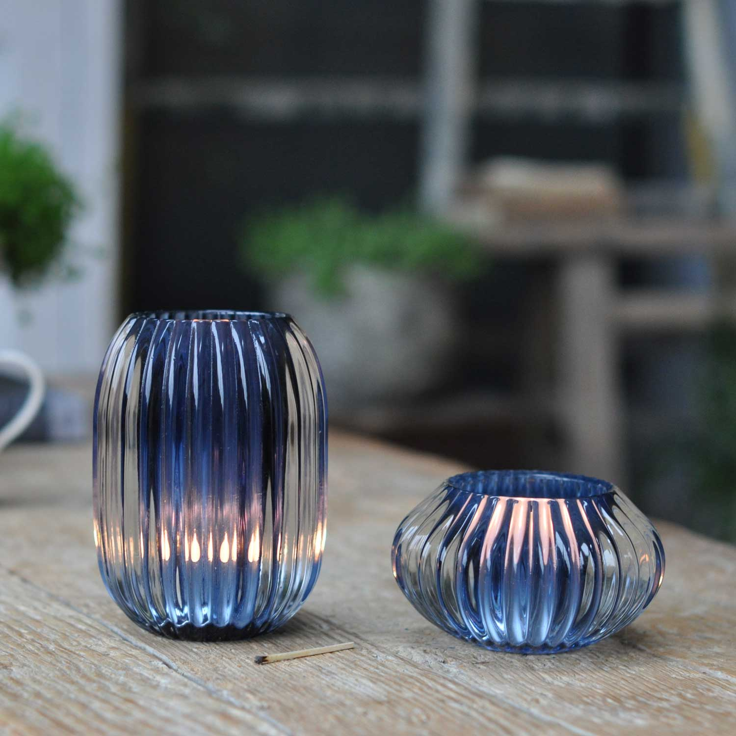 Glass Ribbed Candle Candle Holder Small Blue  Home Barn