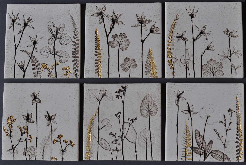 Hand Made Ceramic Botanical Wall Art Tile