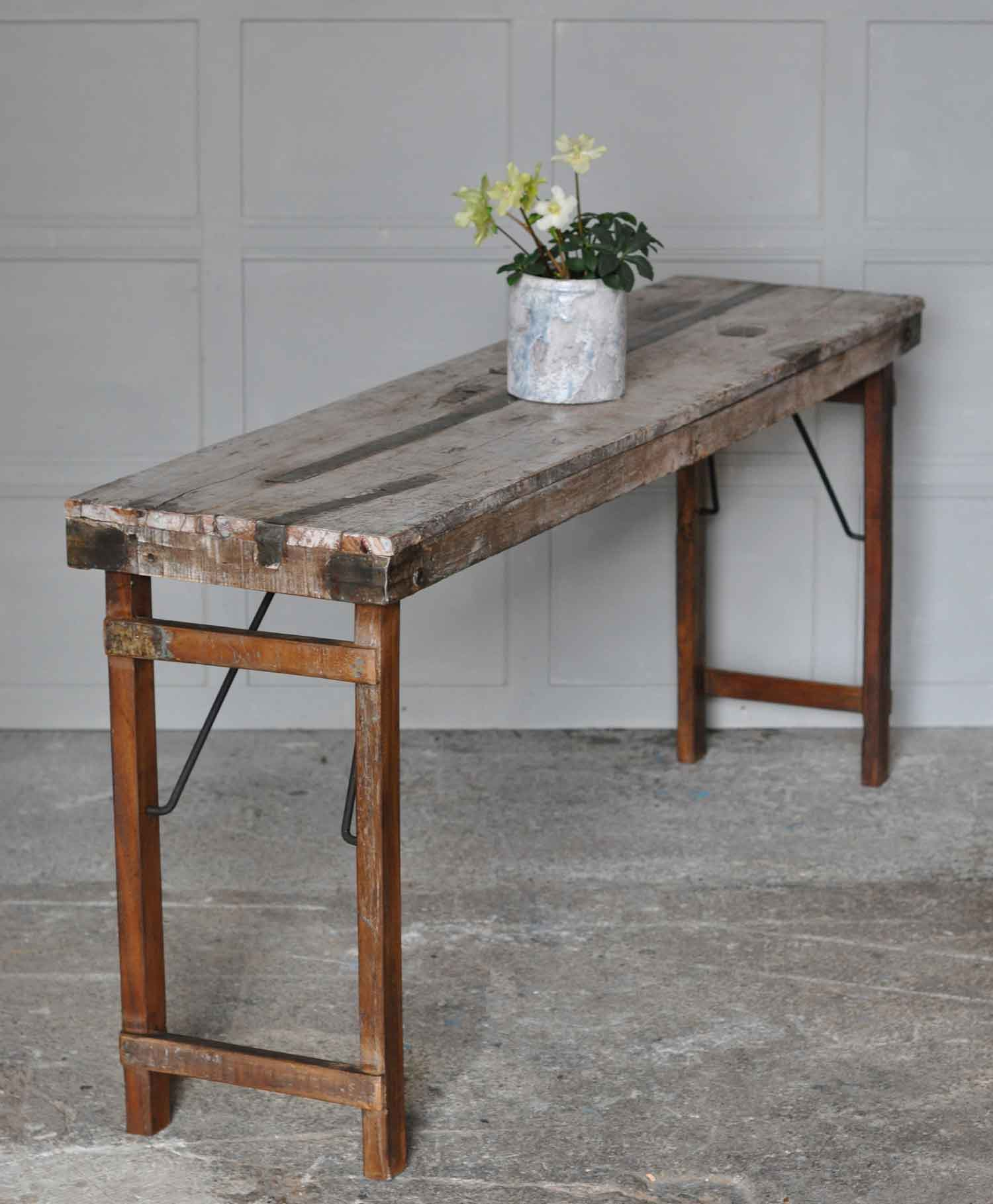 make a rustic sofa table foam replacement cushions industrial reclaimed folding console home