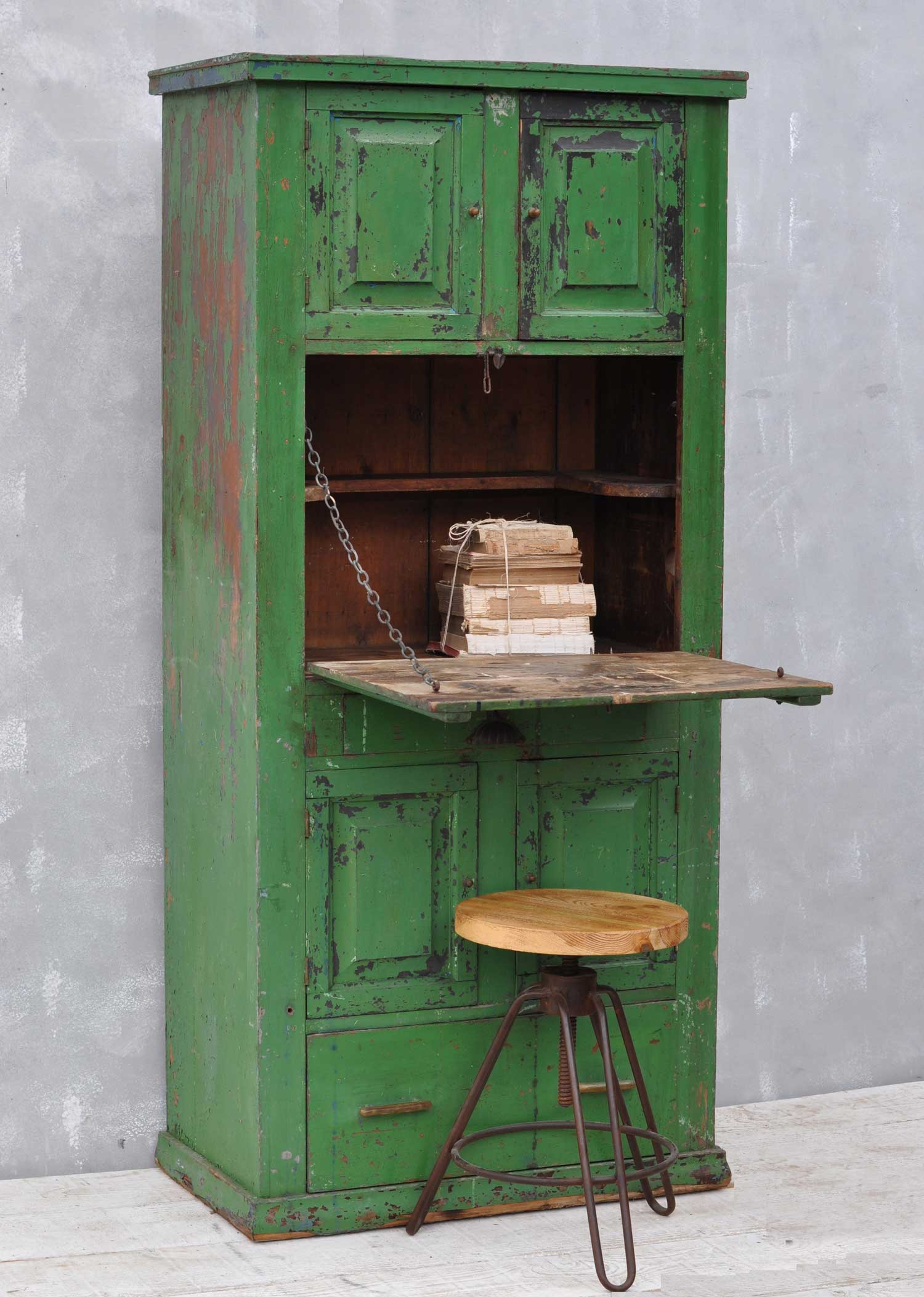 Rustic Vintage Bureau Tall Cabinet Original Green Paintwork  Home Barn Vintage