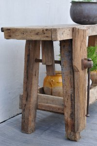 Solid Oak Vintage Console Table Work Bench Featuring Vice ...