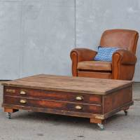 Vintage Plan Chest Coffee Table on Wheels - Home Barn Vintage
