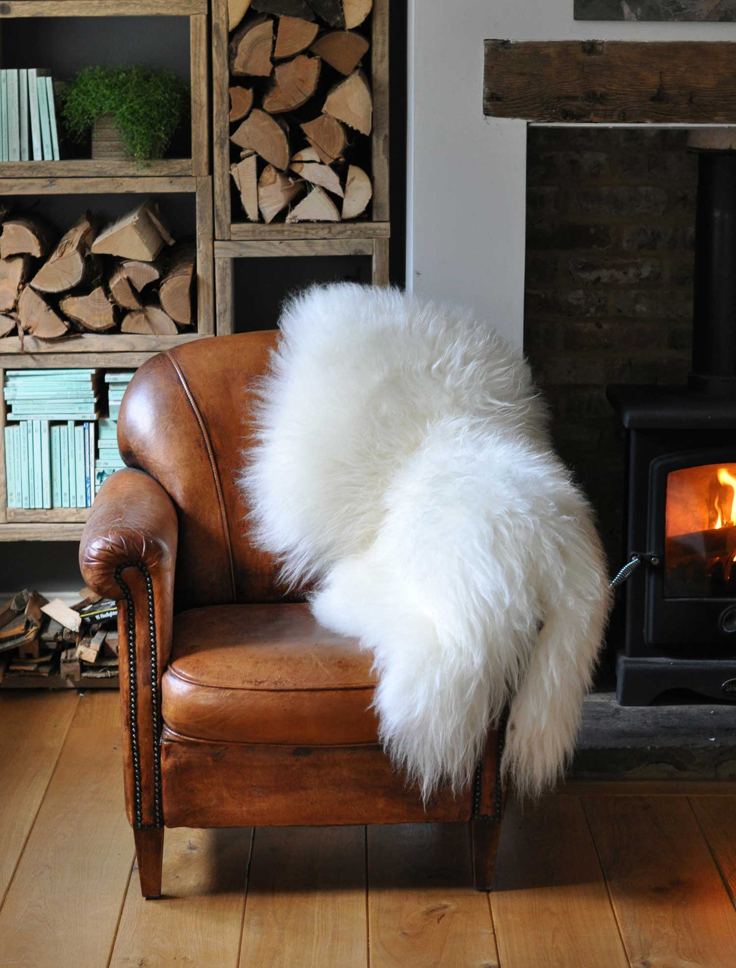Large Long Coat Icelandic Sheepskin Throw Rug White  Home