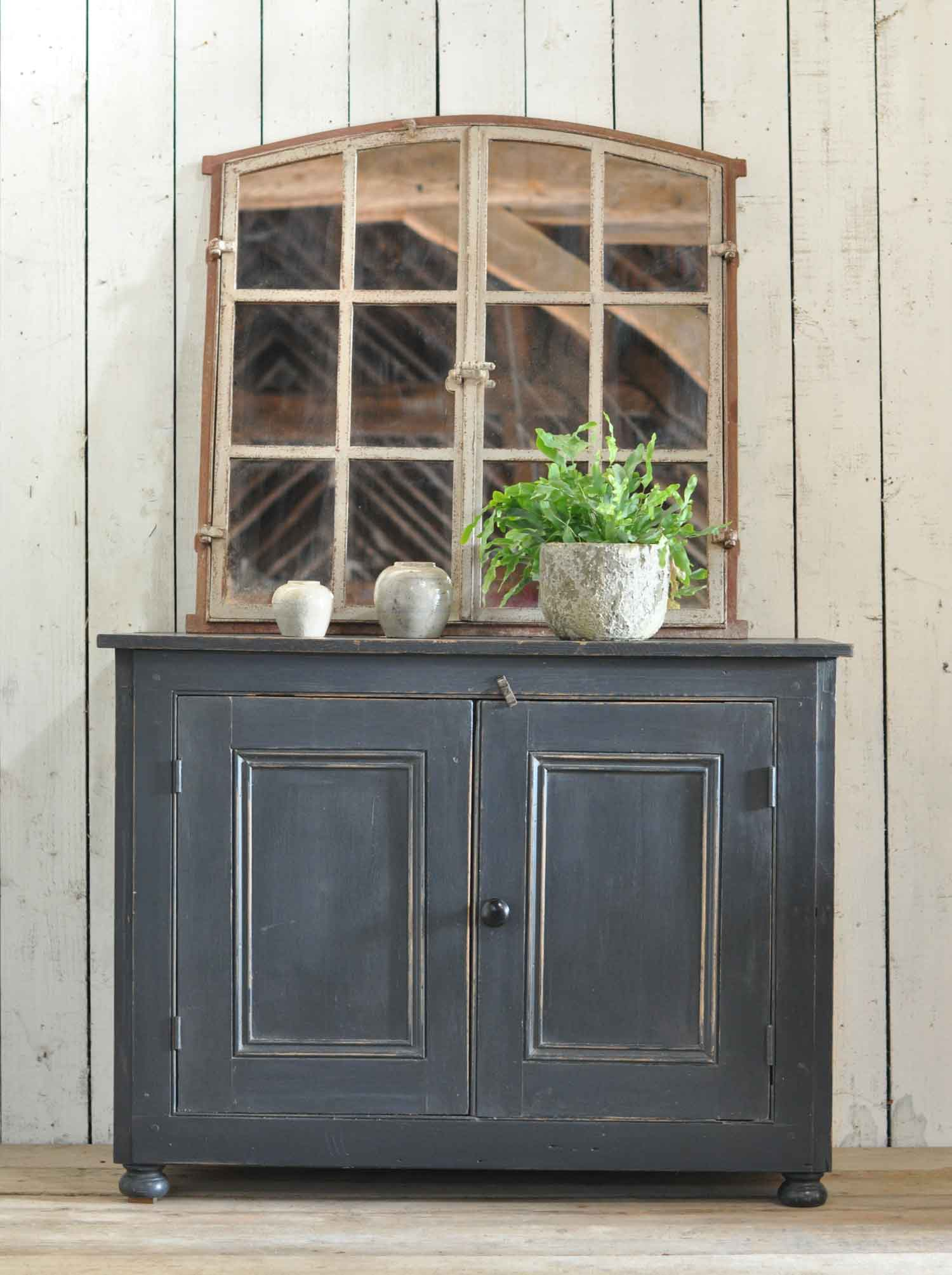 Antique Pine Two Door Cabinet With Dark Grey Paintwork