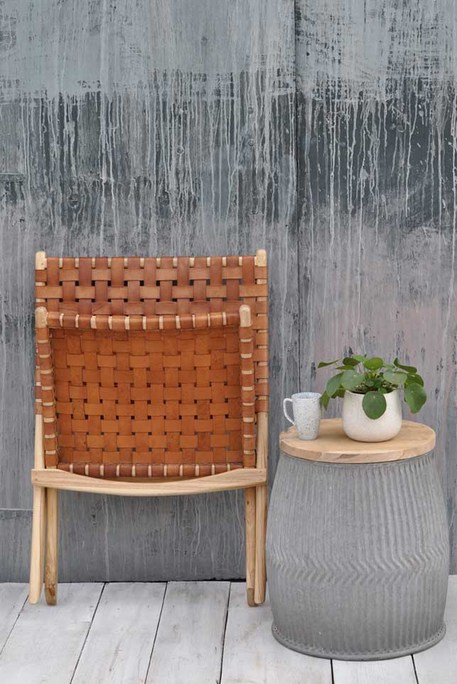 Woven Leather and Teak Folding Occasional Chair