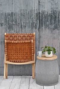 Woven Leather and Teak Folding Occasional Chair ...