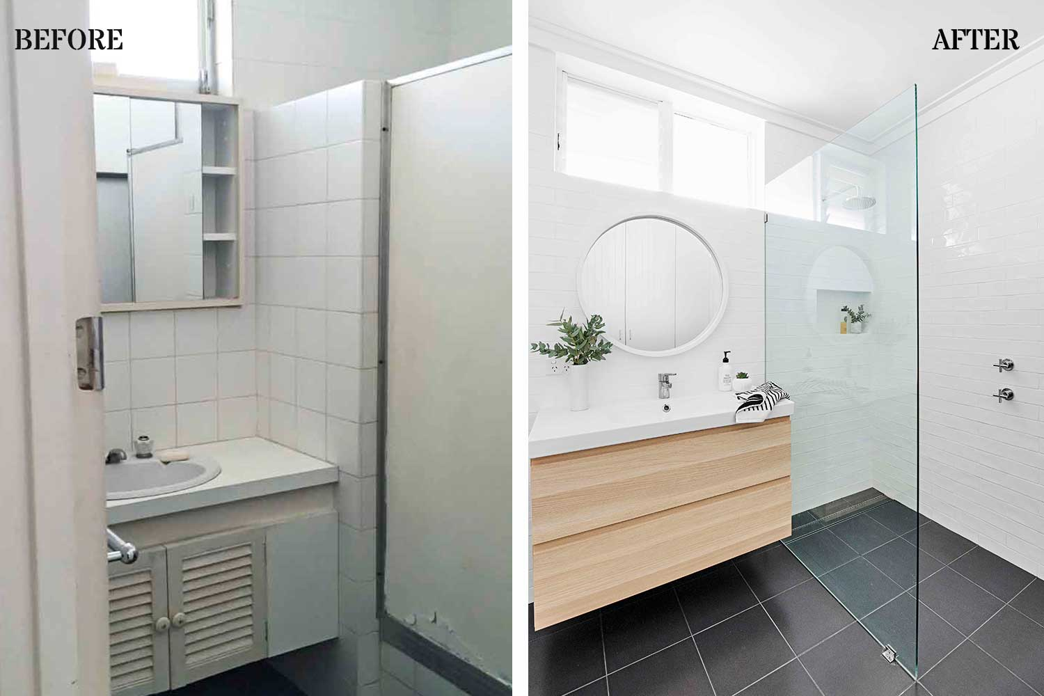 Before  After Bathroom makeover renovated from disaster