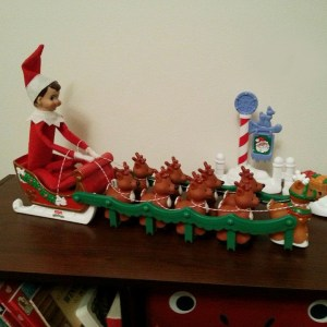 elf on the shelf drives sleigh