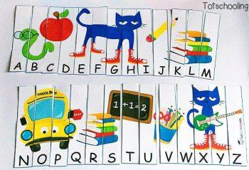TotSchooling Pete The Cat Alphabet Sequencing Puzzle