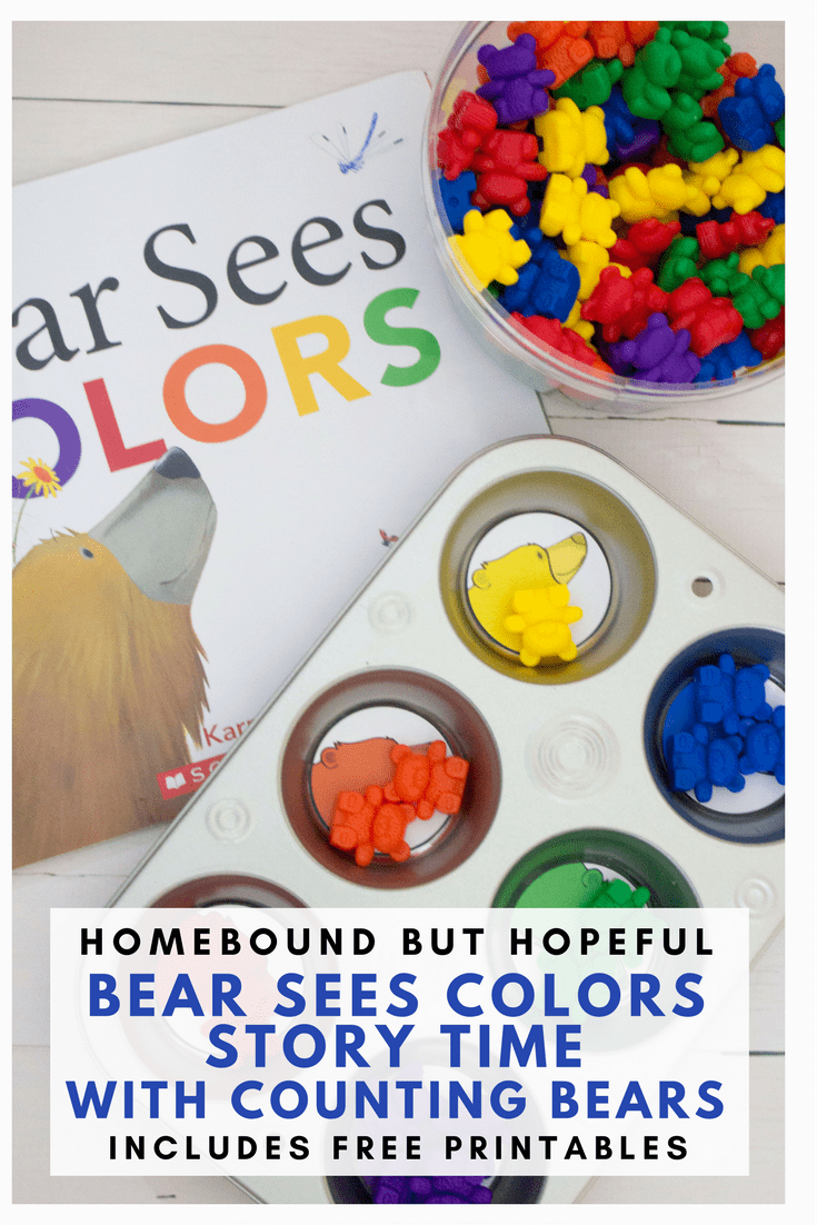 Story time can be a great time to reinforce basic foundation skills with your preschooler. Check out this fun story time that pairs Counting Bears with Karma Wilson's 'Bear' series to help teach colors and numbers. #countingbears #storytime #beyondthebook #freeprintables #learnathome #karmawilson #bearseescolors #bearcounts #picturebooks #kidlit