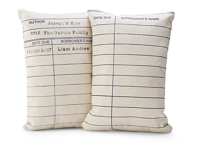UNCOMMON GOODS CHRISTMAS LIST- PERSONALIZED LIBRARY PILLOW