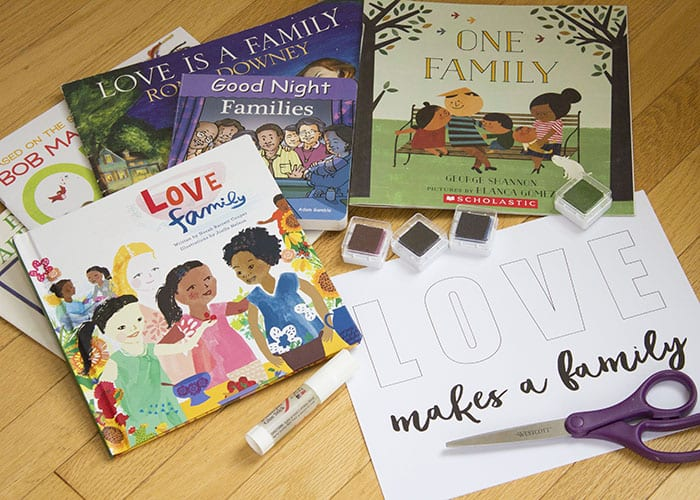 Family diversity storytime and craft supplies.