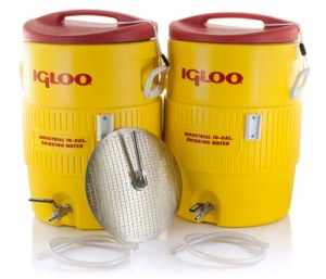 10_gallon_yellow_igloo_mash_tun_and_hot_liquor_tank_together_with_hose_aih