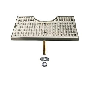 """Beer Drip Tray Stainless Surface Mount 3"""" Column Cut-Out w/ Drain"""