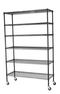"""Sandusky Lee MWS481874-B 6-Tier Wire Shelving Unit with 3"""" Rubber Casters, 6 Wire Shelves, Black, 74"""" Height x 48"""" Width x 18"""" Depth"""