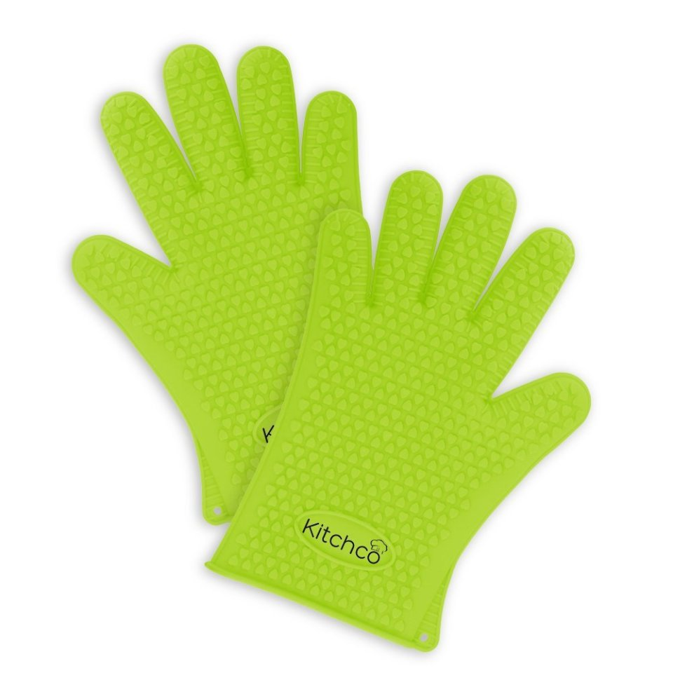 KitchCo Silicone Heat Resistant BBQ and Cooking Gloves - Directly Manage Hot Food - Green